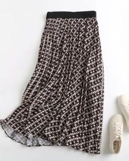 Elegant Geometric Print Vintage Pleated  Midi Skirt