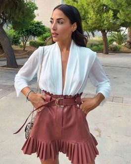 Elegant PU Leather Pleated Ruffles Tie Belt Waist  Mini Skirts