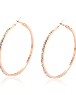 Fashion Big Round Rhinestone Hoop Earrings