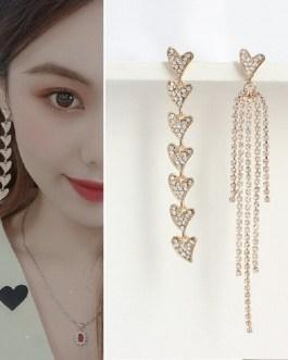 Korean Shiny Heart Crystal Drop Earrings