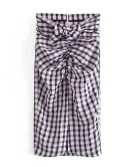 Sexy Split Back Zipper Plaid Bow Pleated Midi Skirts