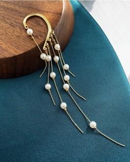 Super Fairy Bone Clip Pearl Tassel Earrings