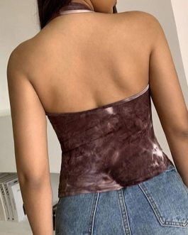 Sexy Halter printed Backless crop top