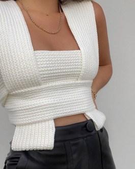 Sexy Multi Knit Wrap Crop Top