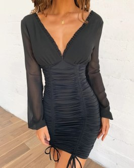 Sexy Slim Elastic Short Pleated  Bodycon Dress