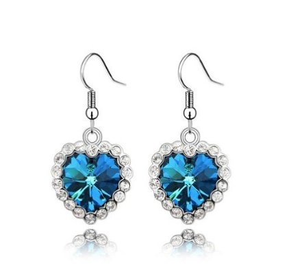 Swarovski Elements Crystal Love Heart Of The Ocean Titanic Earrings