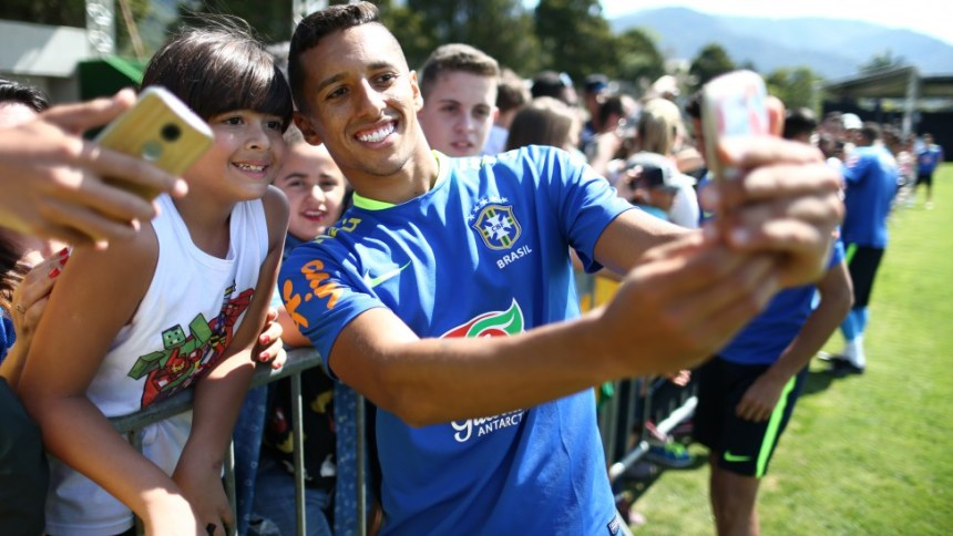 Happy Marquinhos in the Brazil
