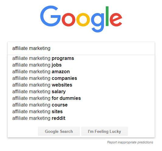 Google keyword suggestions