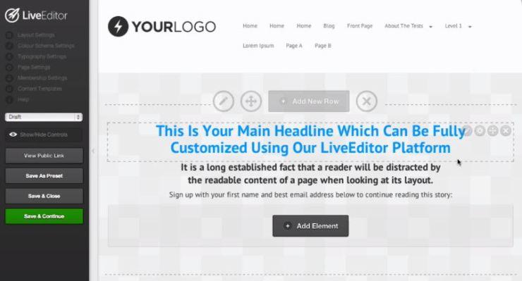 Landing Page Live Editor
