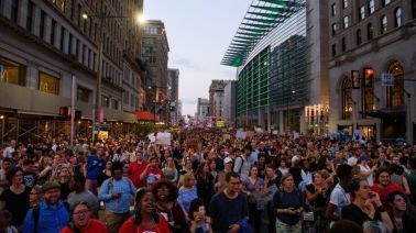 """Hundreds of protestors gather outside of Arch Street United Methodist Church after marching down Broad Street as part of the """"Philly Is Charlottesville"""" rally on Wednesday, August 16, 2017."""