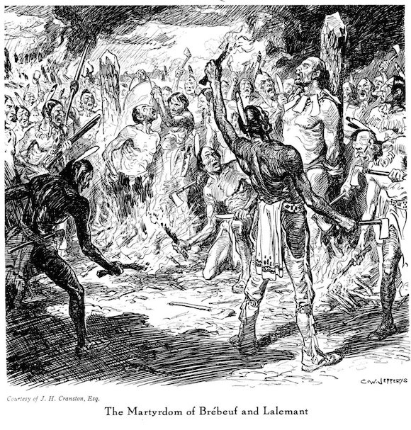 The Iroquois often burned their enemies alive, but the fate of the individuals shown here was actually far worse.