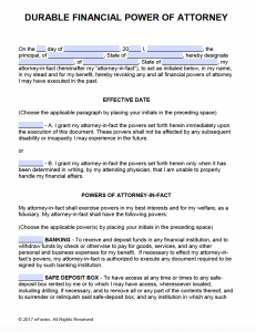 Free Printable Power Of Attorney Forms