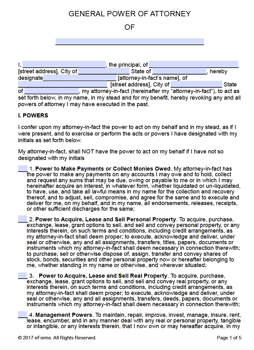 free printable general power of attorney forms. Black Bedroom Furniture Sets. Home Design Ideas