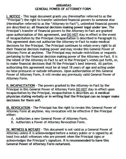 Free general power of attorney arkansas form pdf template general poa pronofoot35fo Gallery