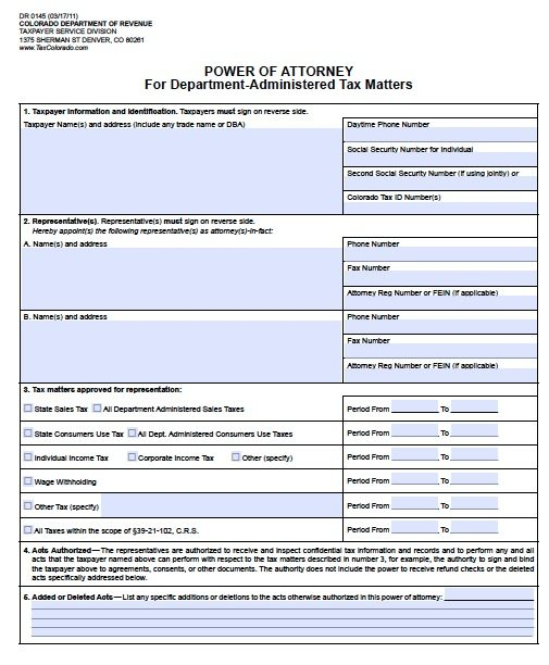 Colorado DR-145 Tax POA Form