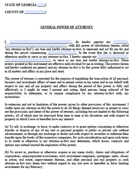 Medical Power Of Attorney Form Georgia Free Archives