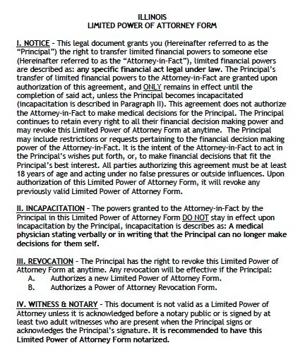 Illinois Limited POA Form