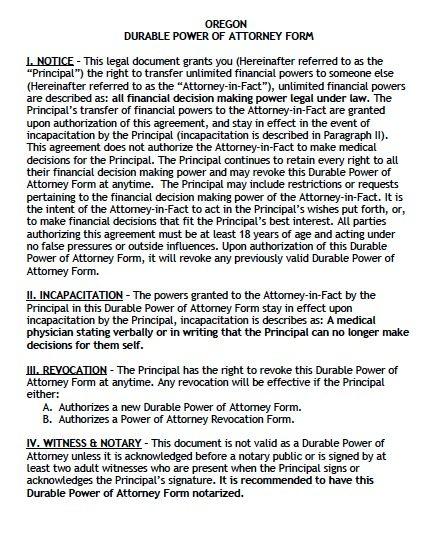 power of attorney oregon Free Durable Power of Attorney Oregon Form – Adobe PDF