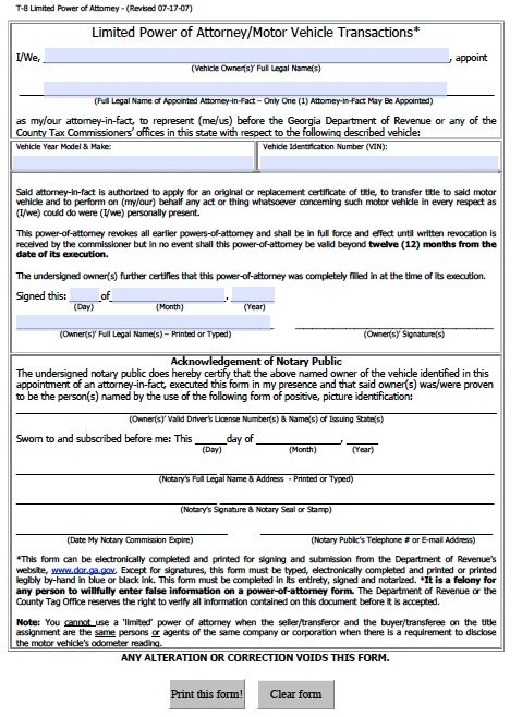 Georgia department of motor vehicles forms for Department of motor vehicle forms