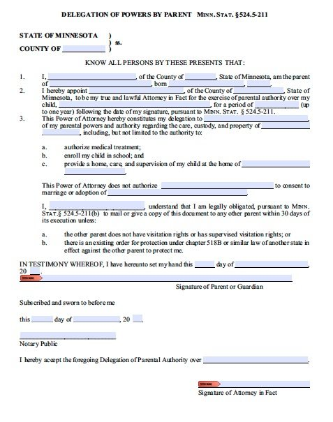 free parental guardianship for minor power of attorney