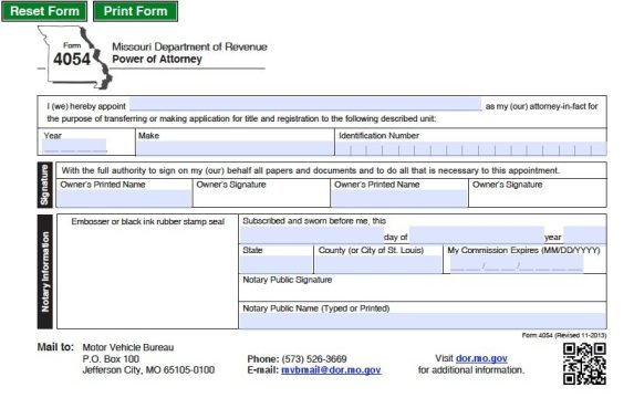 Free motor vehicle power of attorney missouri form adobe pdf for Power of attorney for motor vehicle only