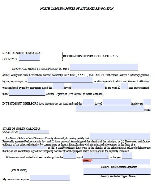 nc power of attorney Free Revocation for Power of Attorney North Carolina Form – PDF