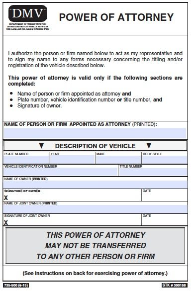 Free vehicle power of attorney oregon form pdf template for Ohio bureau of motor vehicles power of attorney form
