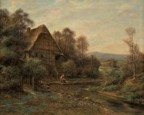 Lempertz-974-66-Paintings-15th--19th-C-Anton-Burger-LANDSCAPE-WITH-FRAME-HOUS