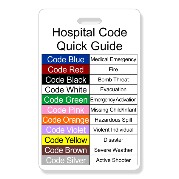 Hospital Emergency Color Code Label ID badge