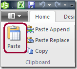 PowerPivot Paste New Table Button