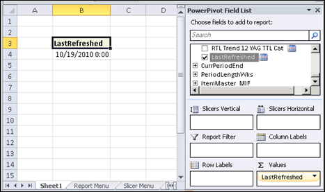 PowerPivot Last Refreshed Date In a Pivot