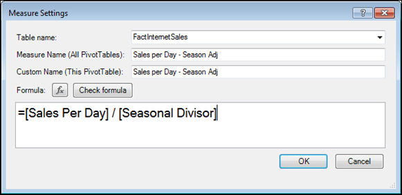 Seasonally Adjusted Sales per Day Measure in PowerPivot