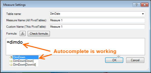 PowerPivot autocomplete is working