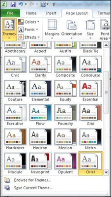 Excel 2010 Themes
