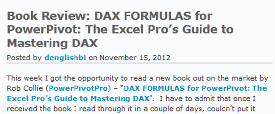Book Review: DAX FORMULAS for PowerPivot: The Excel Pro's Guide to Mastering DAX