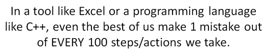 In a tool like Excel or a programming language like C++, even the best of us make 1 mistake out of EVERY 100 steps/actions we take.