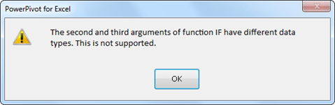 The second and third arguments of function IF have different data types.  This is not supported.