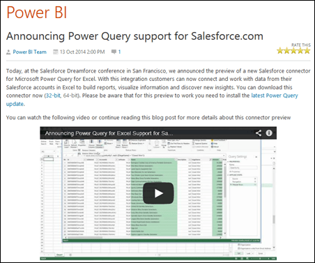 Power Query Adds SalesForce Connectivity: Totally Awesome, But