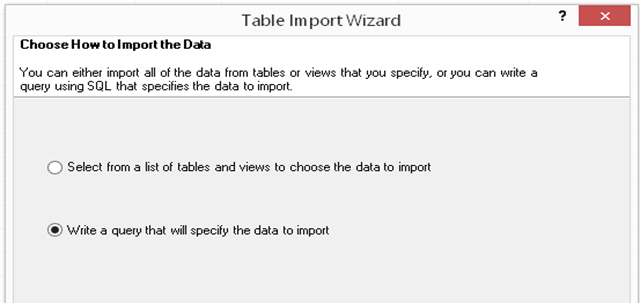 Table Import Wizard