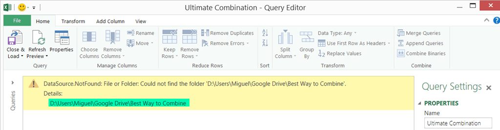 Power Query for Excel: Combine multiple files of different