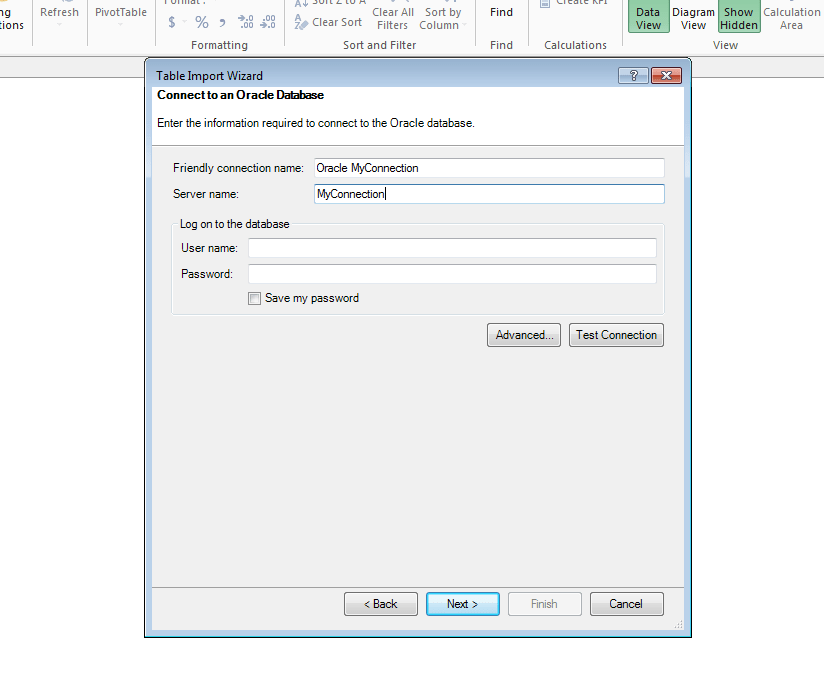 Connecting to an Oracle Database from Power Pivot