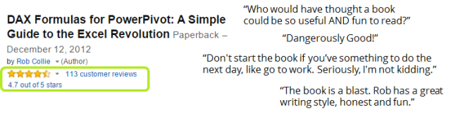 Power Pivot and Power BI Book Amazon Reviews