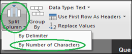 Choose Split Column and By Number of Characters