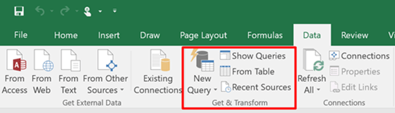 Power Query is Now the Get and Transform Section of the Excel 2016 Ribbon