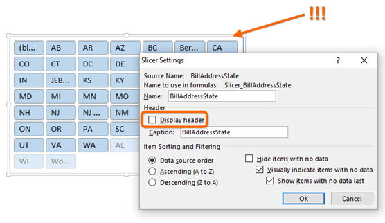 """A Slicer with the Header Hidden (""""Display Header"""" Unchecked) Lacks the Clear Button!"""