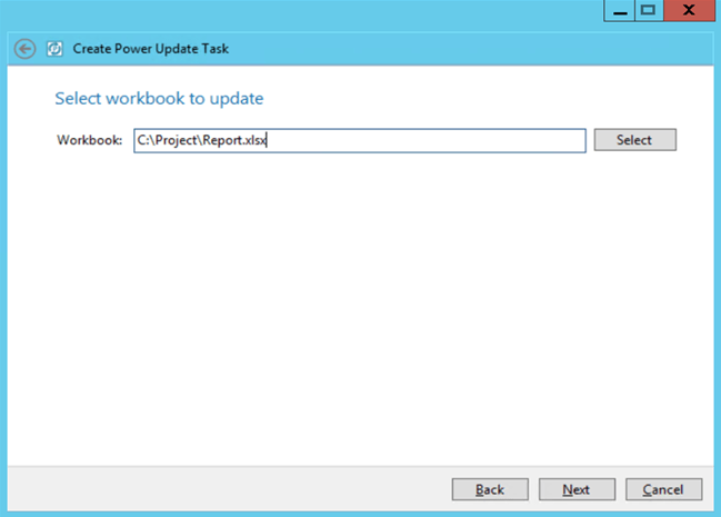 Power Update Select Version Control Task Excel File