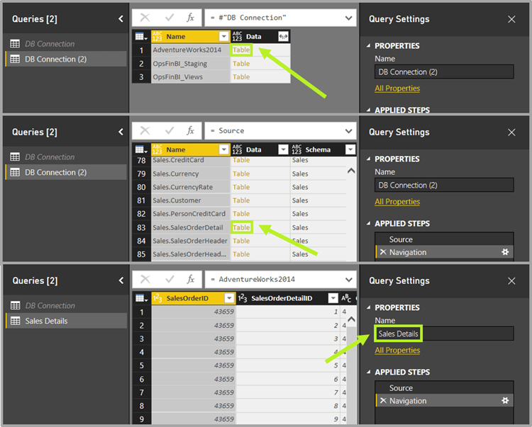Power BI query re-create connection