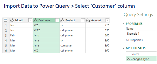 Select customer column