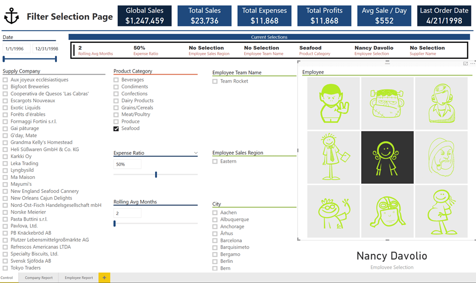 Filter Selection Page