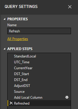 DST Refresh Date Function Power BI Service. Query setting steps.